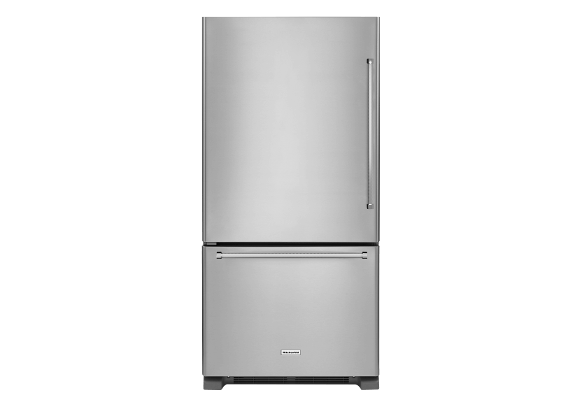 KitchenAid Bottom Freezer Refrigerator - KRBL102ESS product photo Front View L