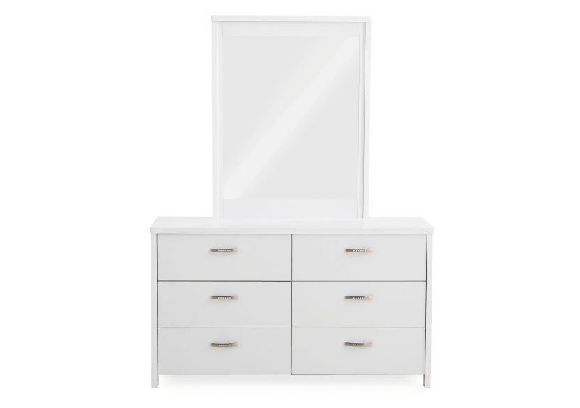White 6-Drawer Dresser and Mirror Set product photo