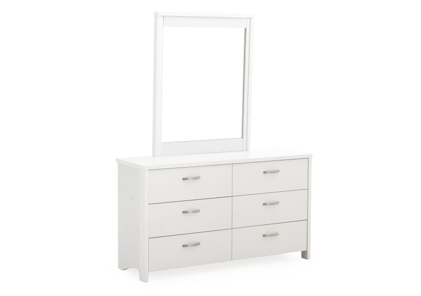 White 6-Drawer Dresser and Mirror Set product photo other01 L
