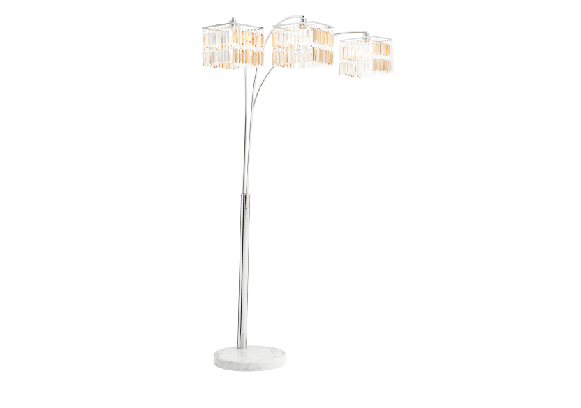 Floor Lamp in Marble and Chromed Metal with Crystals Shades product photo