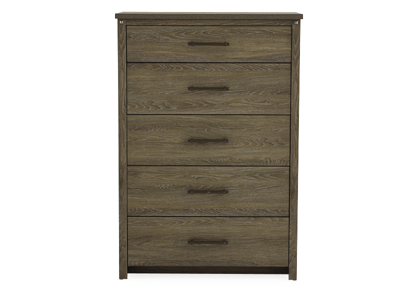 Brown Grey 5-Drawer Chest product photo Front View L