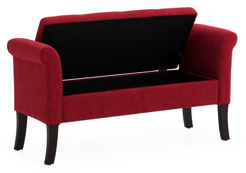 Red Upholstered Storage Bench product photo other02 L
