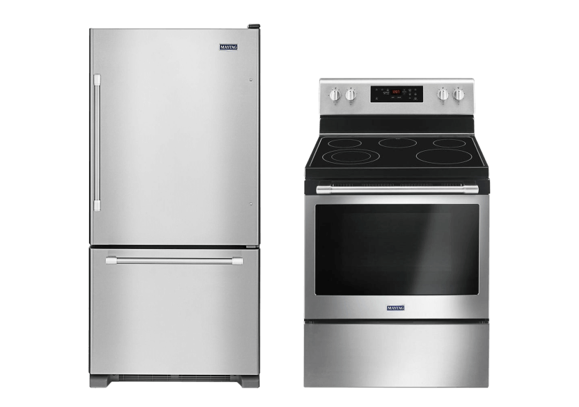 Maytag Refrigerator and Freestanding Range Set - MBR1957FEZ YMER6600FZ product photo Front View L