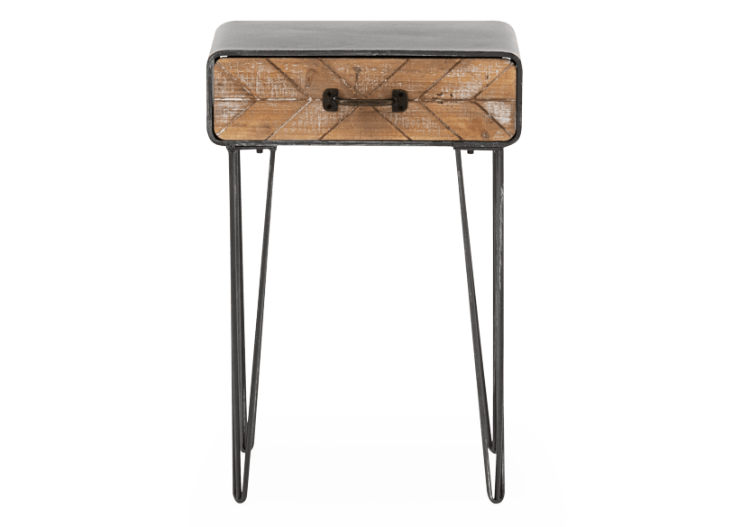 Grey and Brown Wood Accent Table product photo Front View L