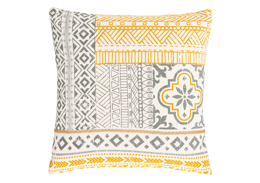 "18x18"" Grey, Yellow and White Decorative Pillow product photo Front View L"