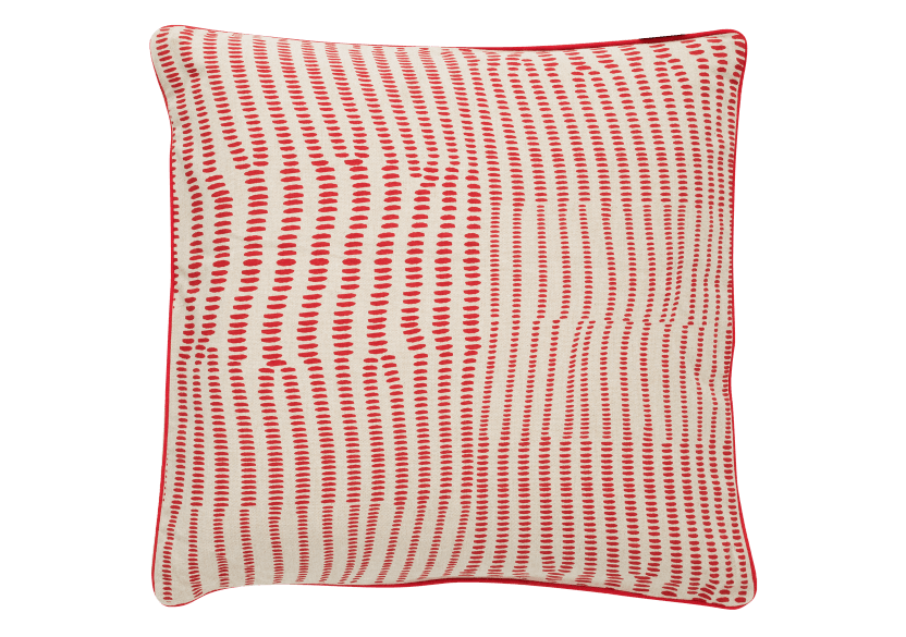 "20x20"" Red and Ivory Decorative Pillow product photo Front View L"