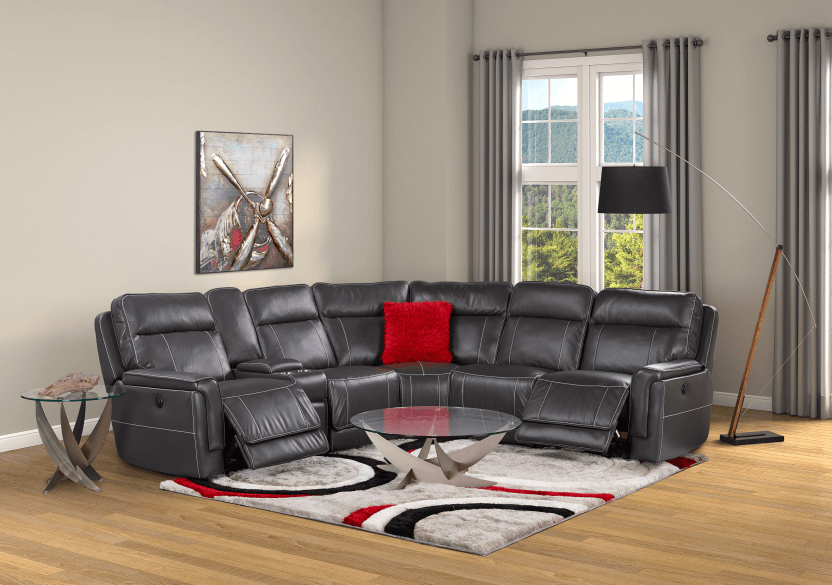 Grey Reclining and Motorized Sectional Sofa product photo other11 L