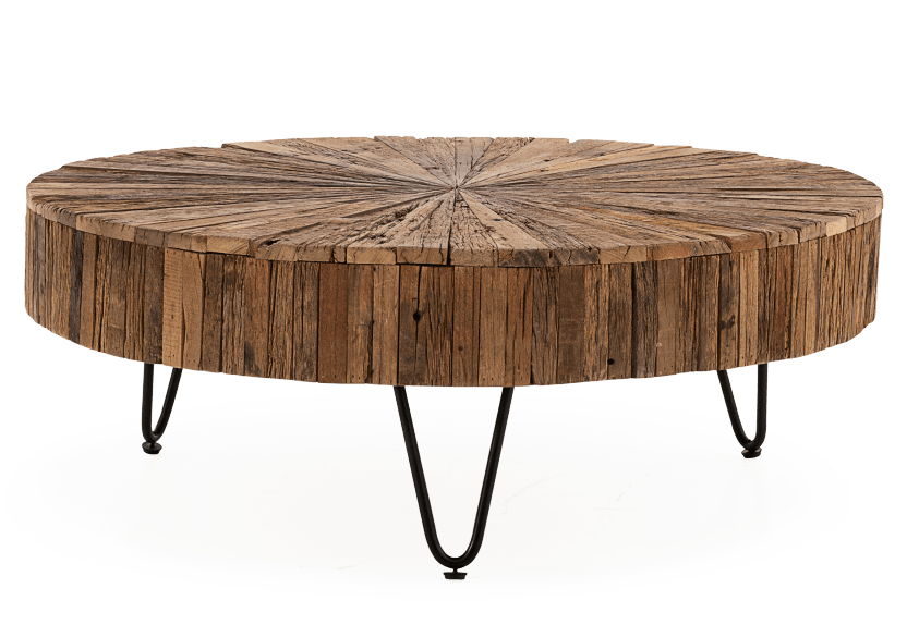 Brown Wood and Metal Coffee Table product photo Front View L