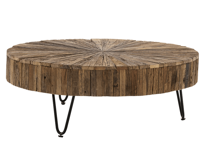 Brown Wood and Metal Coffee Table product photo other02 L