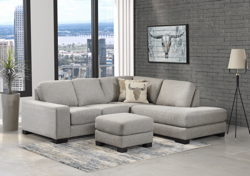 Grey Beige Upholstered Sectional Sofa product photo other07 L