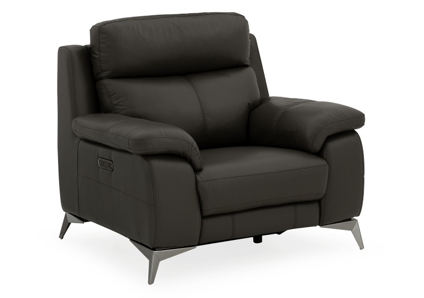 Grey Reclining and Motorized Armchair with Genuine Leather Seat product photo other01 L