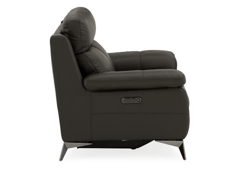 Grey Reclining and Motorized Armchair with Genuine Leather Seat product photo other02 L