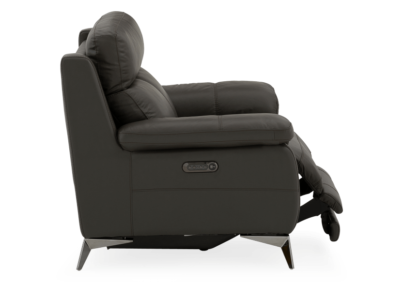 Grey Reclining and Motorized Armchair with Genuine Leather Seat product photo other03 L