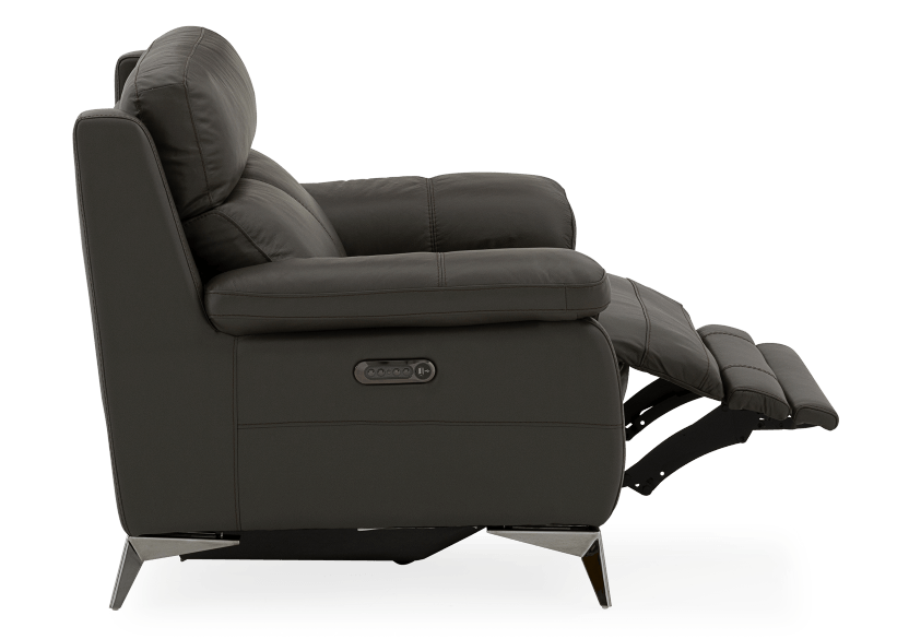 Grey Reclining and Motorized Armchair with Genuine Leather Seat product photo other04 L