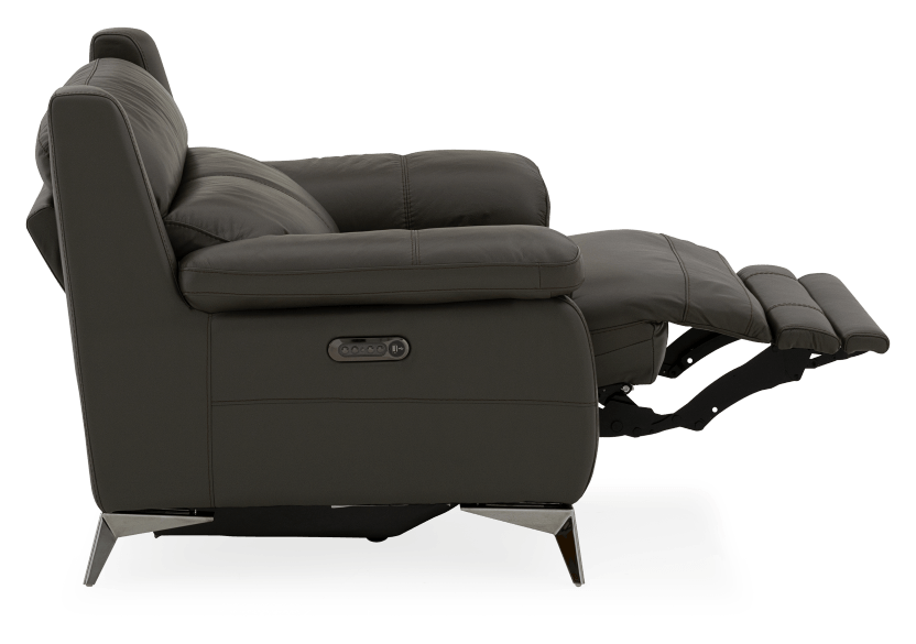 Grey Reclining and Motorized Armchair with Genuine Leather Seat product photo other05 L