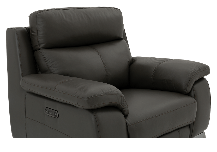 Grey Reclining and Motorized Armchair with Genuine Leather Seat product photo other06 L
