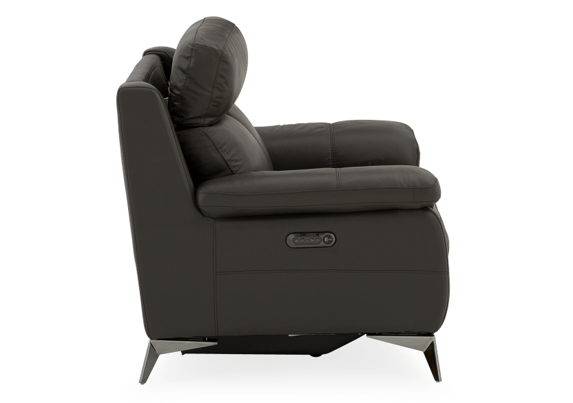 Grey Reclining and Motorized Armchair with Genuine Leather Seat product photo other10 L