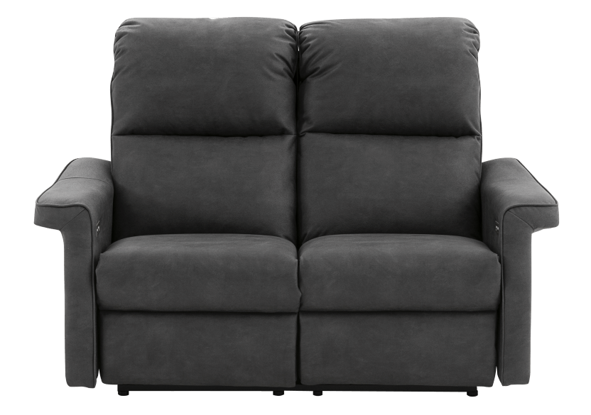 Dark Grey Reclining and Motorized Upholstered Loveseat with Adjustable Headrests - Elran product photo