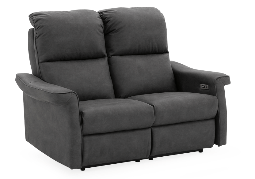 Dark Grey Reclining and Motorized Upholstered Loveseat with Adjustable Headrests - Elran product photo other01 L