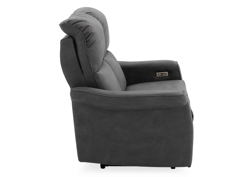Dark Grey Reclining and Motorized Upholstered Loveseat with Adjustable Headrests - Elran product photo other02 L