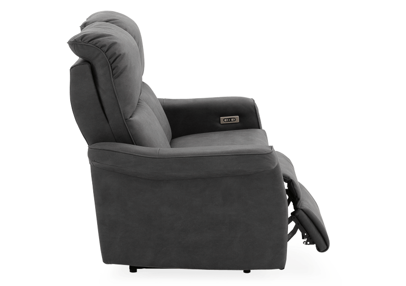 Dark Grey Reclining and Motorized Upholstered Loveseat with Adjustable Headrests - Elran product photo other03 L
