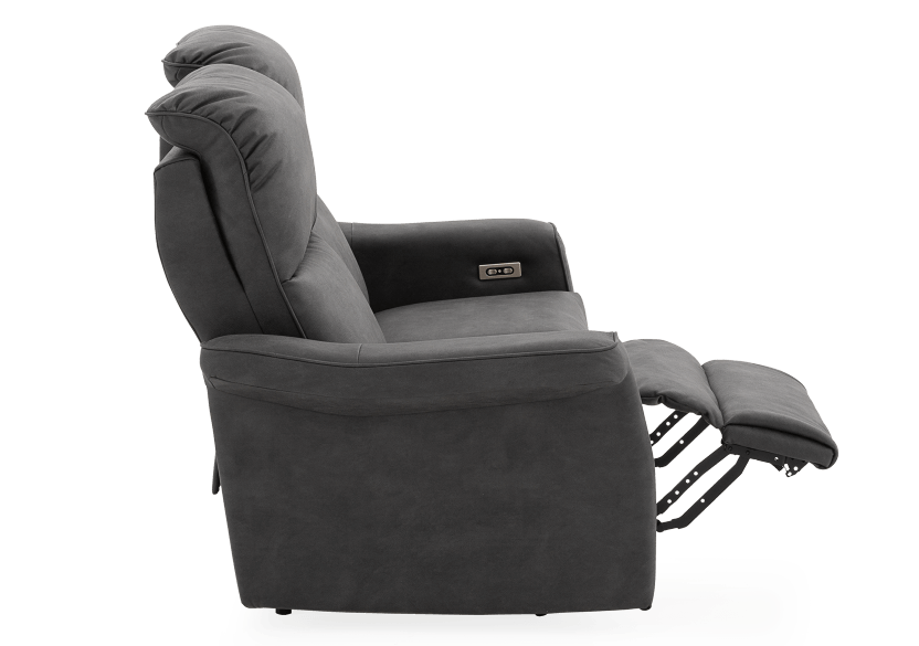 Dark Grey Reclining and Motorized Upholstered Loveseat with Adjustable Headrests - Elran product photo other04 L