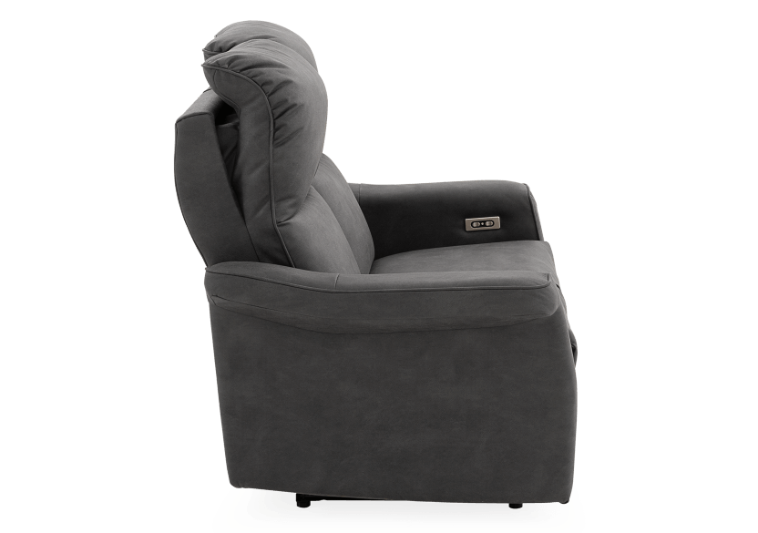 Dark Grey Reclining and Motorized Upholstered Loveseat with Adjustable Headrests - Elran product photo other10 L
