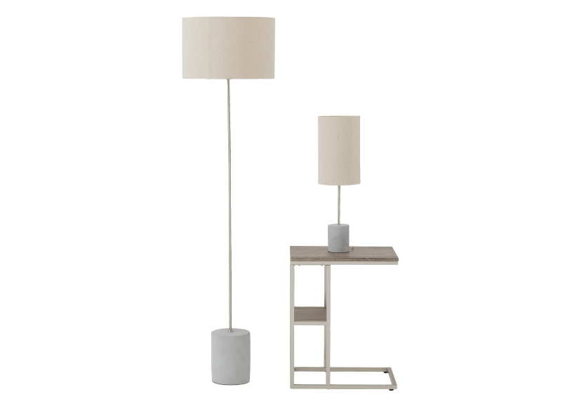 Concrete and Metal Bedside Lamp with Ivory Linen Shade product photo other01 L