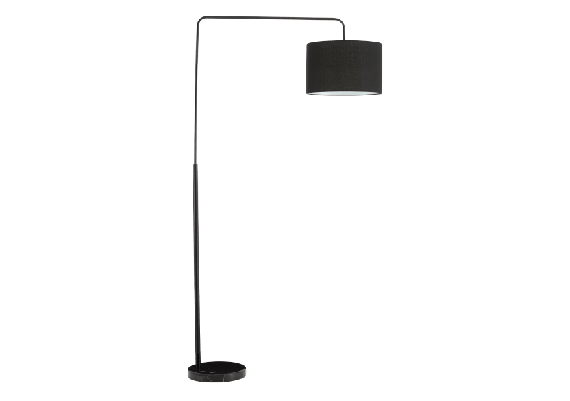 Black Metal Floor Lamp with Black Fabric Shade product photo Front View L