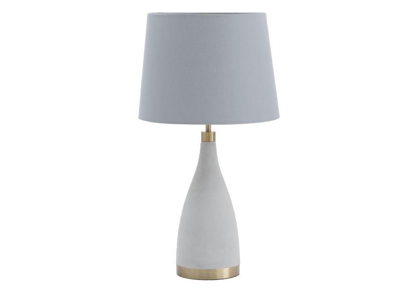 Grey Cement Bedside Lamp with Fabric Shade product photo Front View L