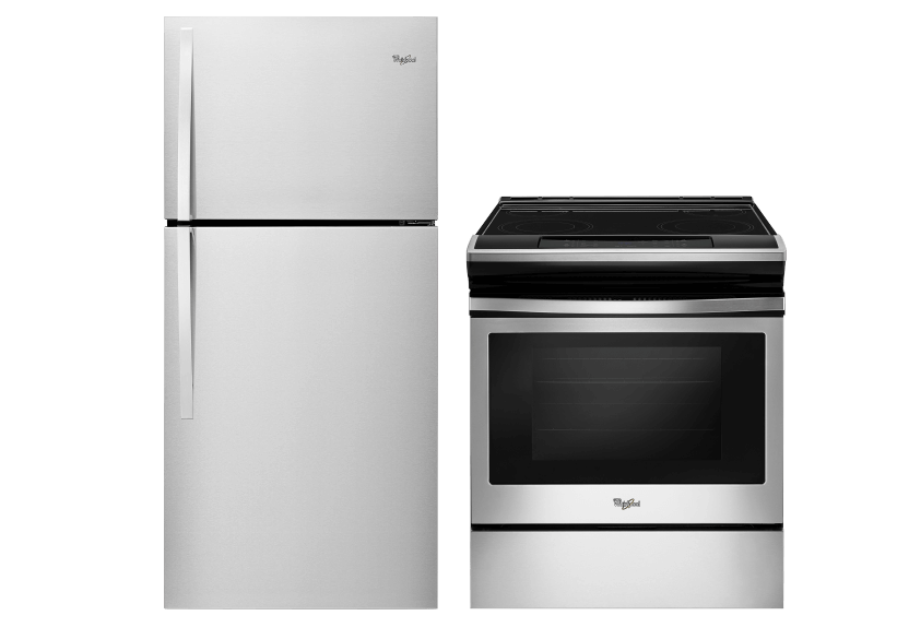Whirlpool Refrigerator and Range Set - WRT549SZDM YWEE510SOFS product photo Front View L