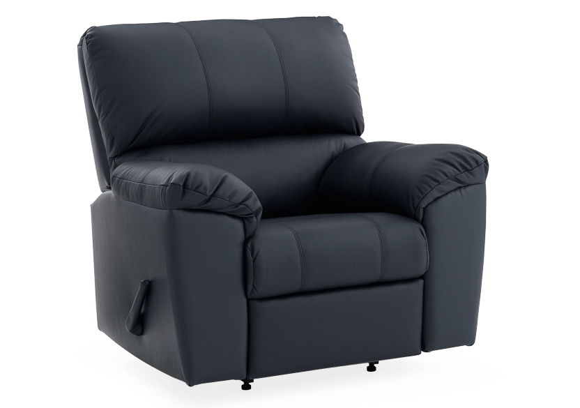 Dark Blue Reclining and Rocking Armchair with Genuine Leather Seat - ELRAN product photo other01 L