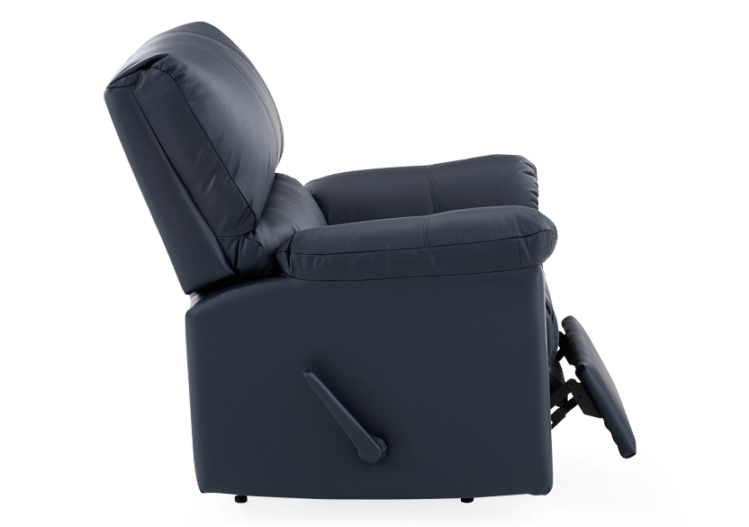 Dark Blue Reclining and Rocking Armchair with Genuine Leather Seat - ELRAN product photo other03 L