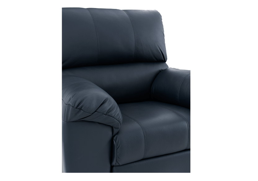 Dark Blue Reclining and Rocking Armchair with Genuine Leather Seat - ELRAN product photo other06 L