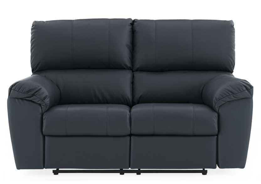 Dark Blue Reclining Loveseat with Genuine Leather Seats - ELRAN product photo