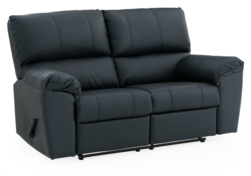 Dark Blue Reclining Loveseat with Genuine Leather Seats - ELRAN product photo other01 L