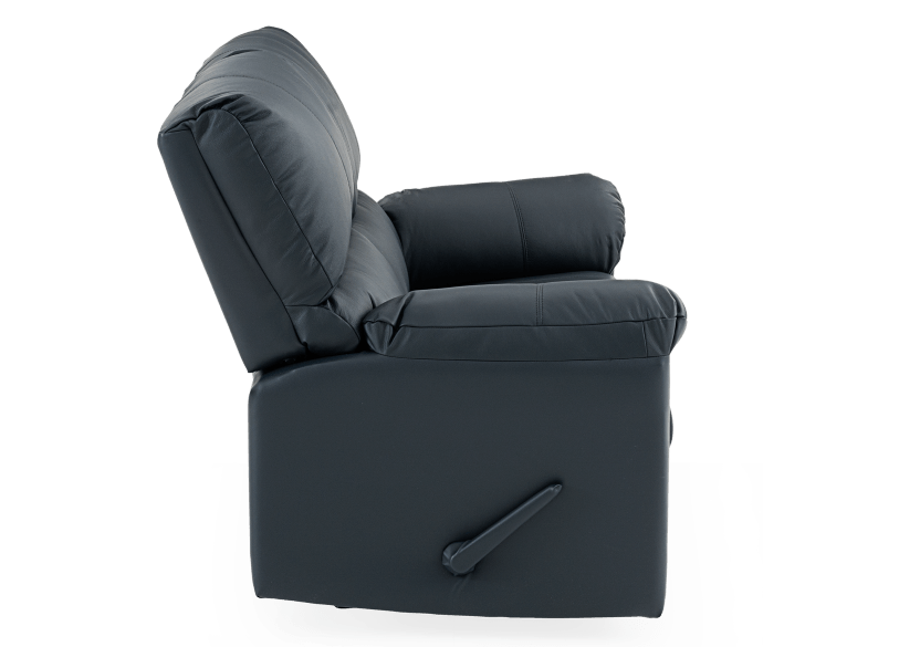Dark Blue Reclining Loveseat with Genuine Leather Seats - ELRAN product photo other02 L