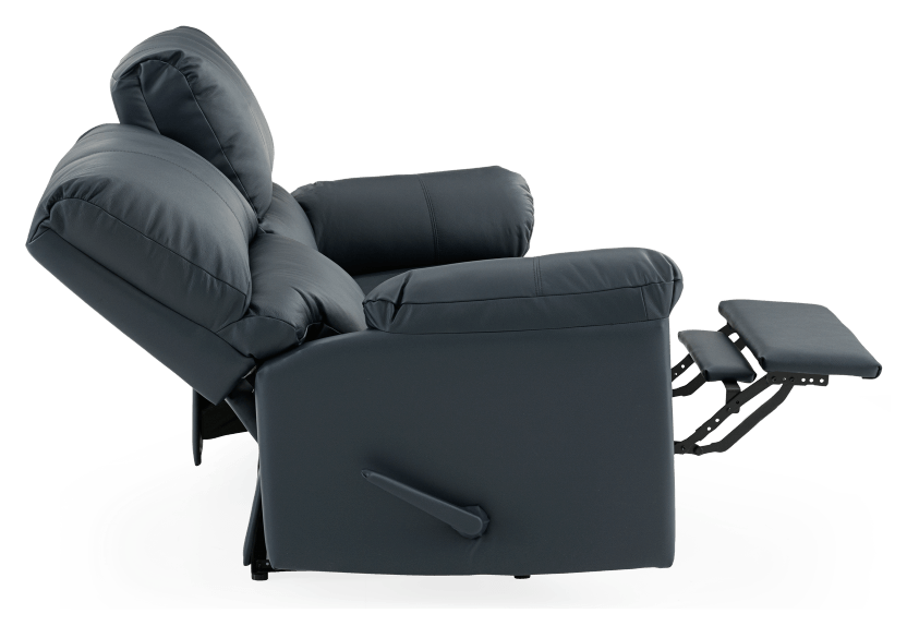 Dark Blue Reclining Loveseat with Genuine Leather Seats - ELRAN product photo other05 L