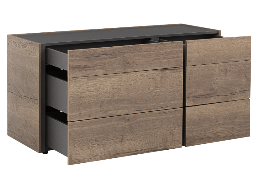 Beige and Dark Grey 6-Drawer Dresser product photo other02 L
