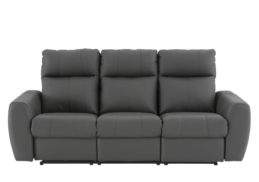 Dark Grey Reclining and Battery Motorized Sofa with Genuine Leather Seats and Adjustable Headrests - ELRAN product photo