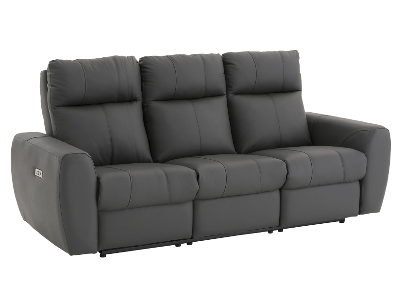 Dark Grey Reclining and Battery Motorized Sofa with Genuine Leather Seats and Adjustable Headrests - ELRAN product photo other01 L