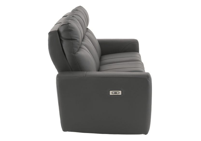 Dark Grey Reclining and Battery Motorized Sofa with Genuine Leather Seats and Adjustable Headrests - ELRAN product photo other02 L