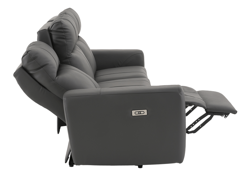 Dark Grey Reclining and Battery Motorized Sofa with Genuine Leather Seats and Adjustable Headrests - ELRAN product photo other05 L