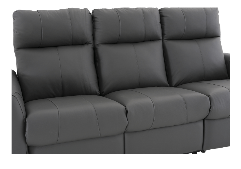 Dark Grey Reclining and Battery Motorized Sofa with Genuine Leather Seats and Adjustable Headrests - ELRAN product photo other06 L