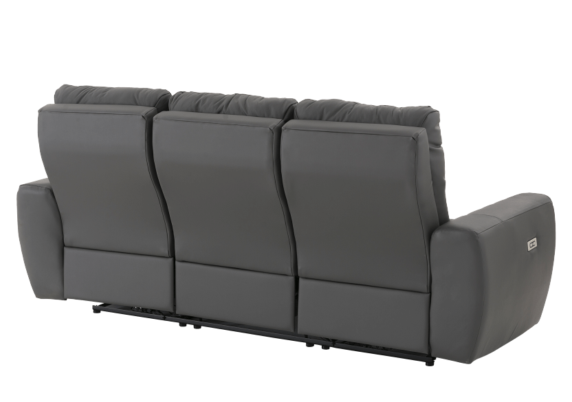 Dark Grey Reclining and Battery Motorized Sofa with Genuine Leather Seats and Adjustable Headrests - ELRAN product photo other08 L