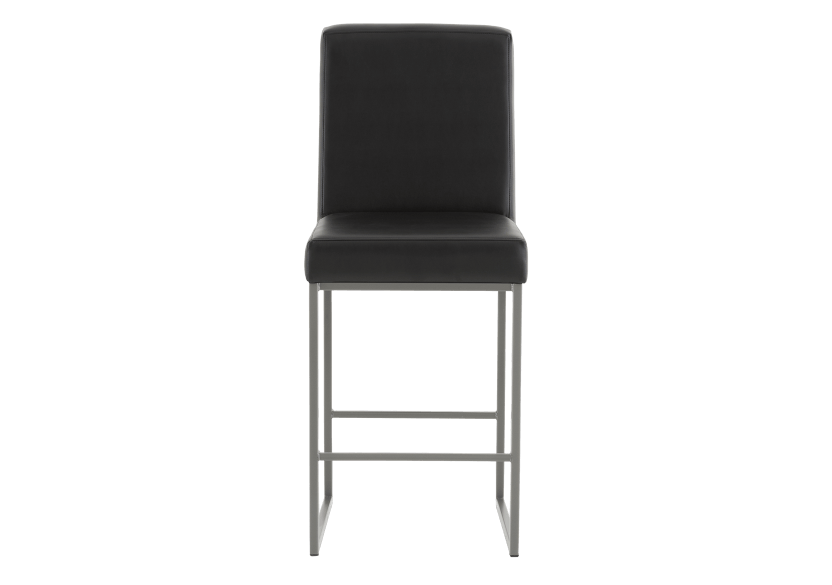 Metal Stool with Black Upholstered Seat product photo Front View L