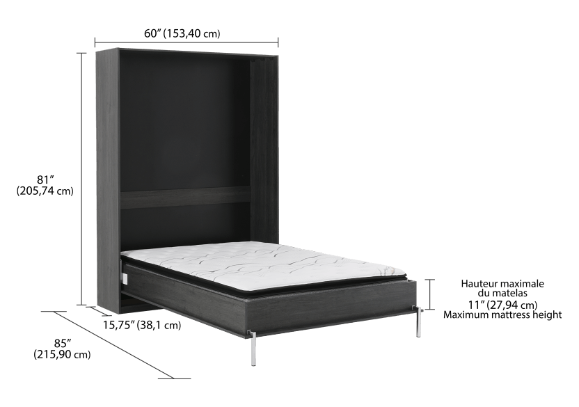 Dark Grey Wall Murphy Bed - Double Bed product photo other04 L