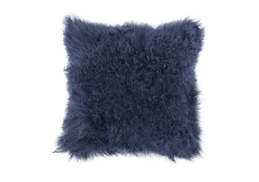 "16x16"" Dark Blue Wool Decorative Pillow product photo Front View L"