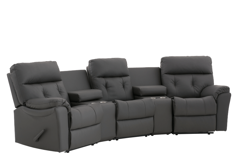 Dark Grey Home Theater Reclining Sofa with Genuine Leather Seats - ELRAN product photo other01 L