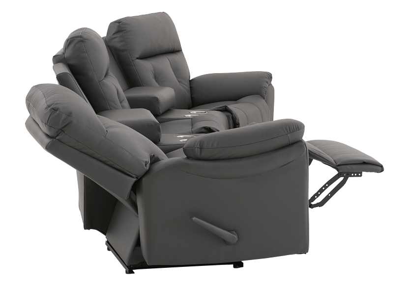 Dark Grey Home Theater Reclining Sofa with Genuine Leather Seats - ELRAN product photo other05 L